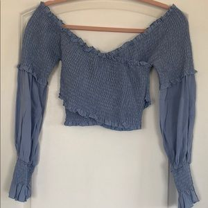 Cornflower blue off the shoulder top